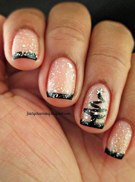 Christmas Tree Nail Design, Christmas Black Holiday Glitter