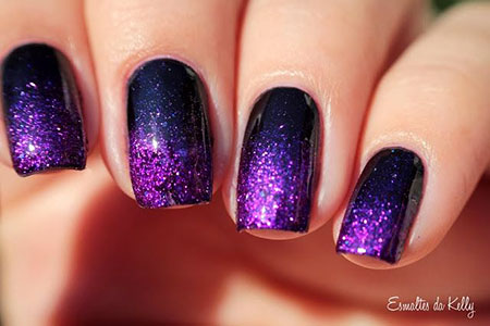 Gradient Sparkle Nail Art, Purple Polish Gradient Sparkle