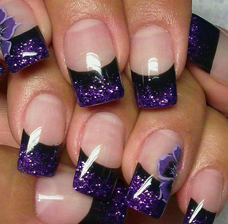Cute Colored Style, Purple Acrylic Black Love
