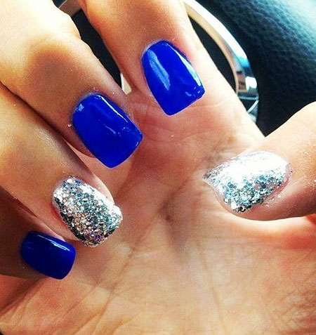 Silver and Blue Nails, Silver Glitter Blue March