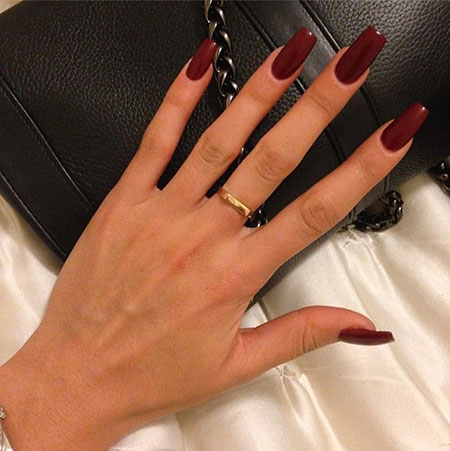 Very Long Square Nails, Red Dark Coffin Acrylic