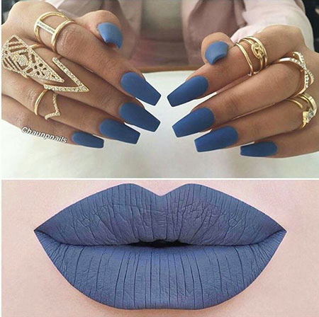 Very Long Coffin Nails, Matte Blue Makeup Manicure