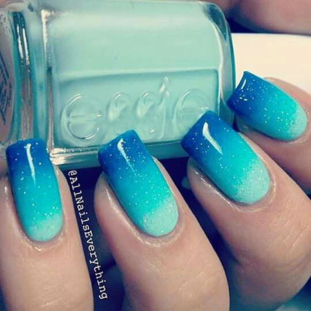 Ombre Color Style, Blue Polish Ombre Cute