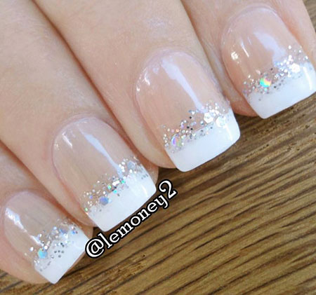 Short French Tip Nails with Glitter, French White Glitter Gel