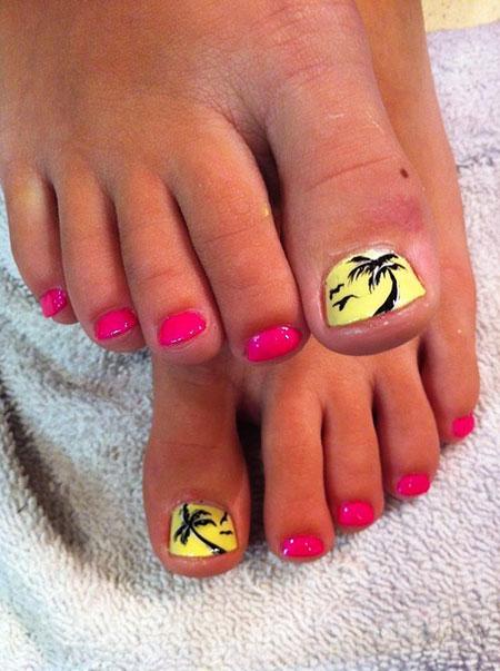 Pink and Yellow Nails, Toe Summer Tree Yellow