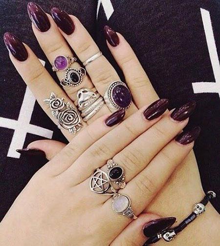 Dark Purple Nail Color, Classy Halloween Dark Purple