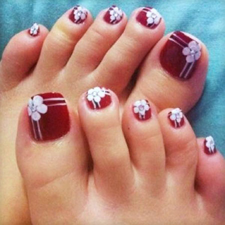 Floral Toe Nail Art, Toe Toes Ideas Simple
