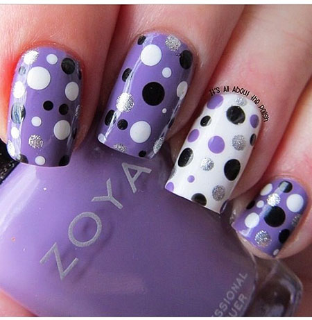 Polka Dots Purple Manicure, Dot Polka Dots Purple
