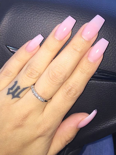 Acrylic Pink Long Nails, Acrylic Top Pink Light