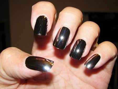 Black Polish Manicure Педикюр