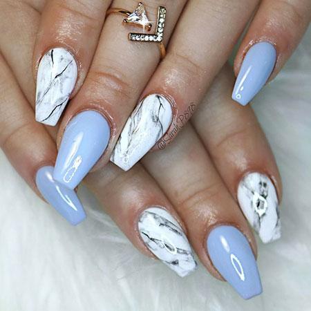 Blue Gel Acrylic Manicure