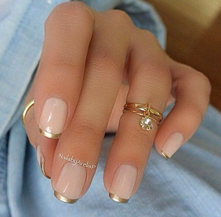 Manicure French Gold Cute