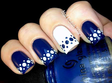 Blue And White Coffin Nail Best Nail Art Designs 2018