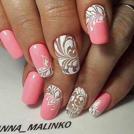 Art, Simple Nail, Lace Nail Pink Pink, Lace, Simple, S,