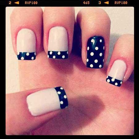 Nyc Nail, Ny Nail, Daisy French Manicure, Polka Dots, Da Nail, Daisy,