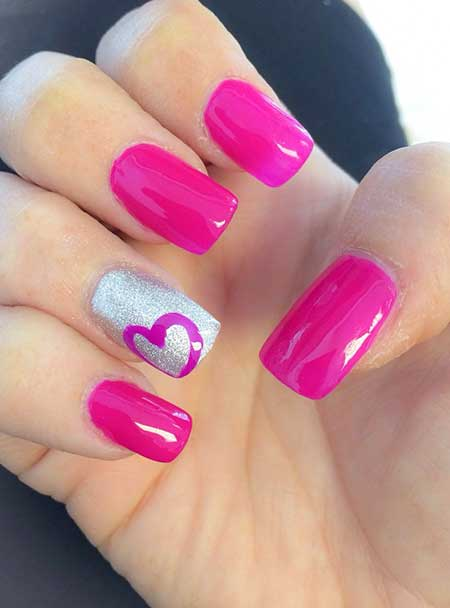 Pink, Pink Nail, Hot Pink, Glitter, Accent Nail, Hot, Accent, Idea, S