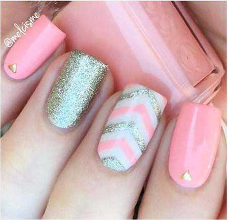 Nail, Glitter Nail, Pink Pretty Nail, Glitter, Pink, Easy, 2017, Ideas, Idea
