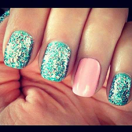 Glitter Nail, Mermaidglitter, Summer Nail, Sparkle, Mermaid, Blue, Pink