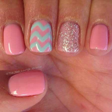 Pink, Summer Anchor Nail, Pink Polish, Pretty Nail, Glitter Nail, Anchor, Chevron,