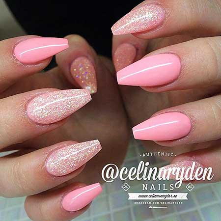Stiletto Pink Pink, Pink Bowrylic Nail, Glitter, Bow, Coffin, Stiletto