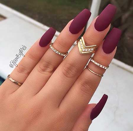 Burgundy Matte Coffin Nails