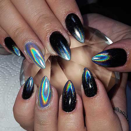 Art, Stiletto Galaxy Nail, Purple, Chrome