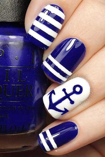 Nautical Nail, Anchor Nail, Summer Nail, Blue Art, Navy White, Blue, Anchor, Navy