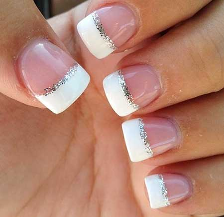 French Manicure, Glitter, Wedding Nail, French, Pretty Nail, Simple, Wedding