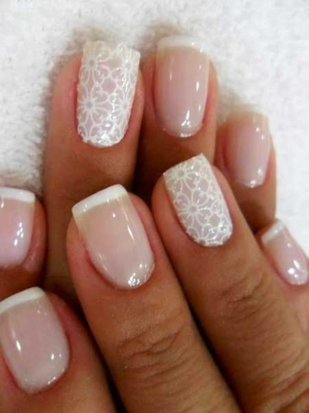 French Manicure, Wedding Lace Nail French, Manicures, Wedding, Lace, Idea, Manicure