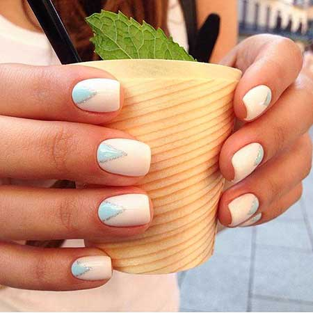 Art, Manicures, White Nail White, Blue