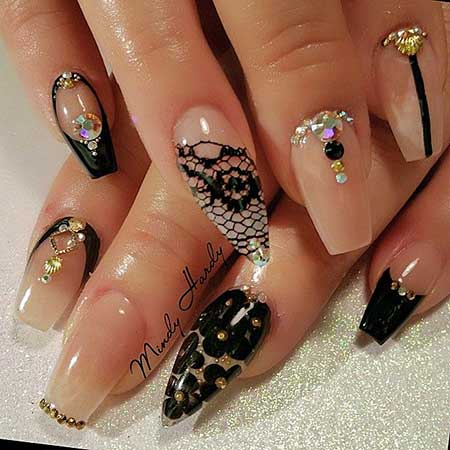 Nail, Art, Lace Nail, Luminousacrylicbeige