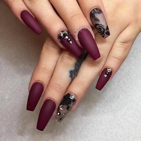 Matte Nail, Coffin Accent Nail, Matte S One