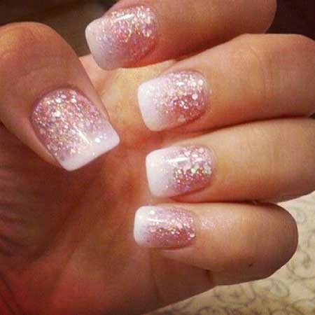 Glitter Glitter Nail, French Manicure, Pink, Sparkle, French, Valentines [,