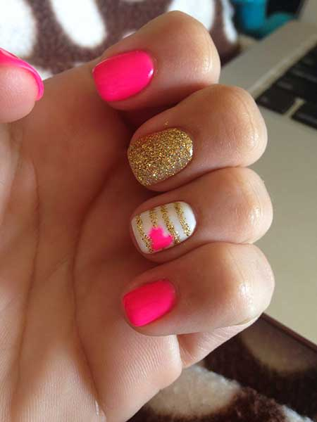 Pink Glitter, Summer Nail, Pink Beautiful, Sparkle, Hot, Gold, Valentines, Day [