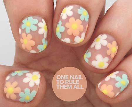 Flower Nail, Art, Spring Polka Dots, Daisynegative