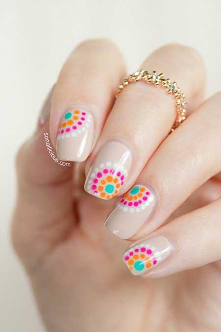 Nail, Spring Summer, polka Dots, Art, Flower Nail, Polka, Floral