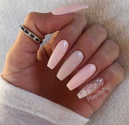 Coffin Nail, Pink Acrylic Nudepink, Light