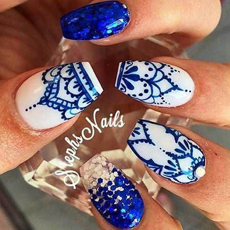 Blue, Art, Blue Flowers, Pretty Nail, Paisley Nail, White, Coffin