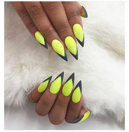Summer Neon Nail, Neon, Rainbow Yellow, Art, Stiletto Rainbow, Cat