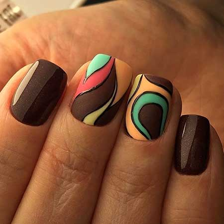 Nail, Marble Art, Water Marble, Summer One