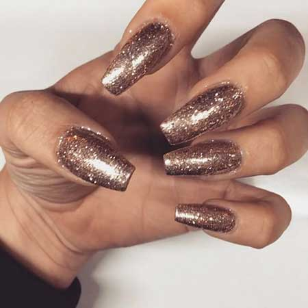 Glitter, Glitter Nail, Gold, Coffin Sparkle, Coffin, Queen, 2017, Idea [,