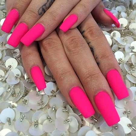 Pink Nail, Pink, Matte Nail, Hot Pinkpretty Nail, Hot, Matte