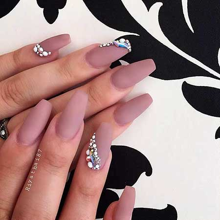 Stiletto Nail, Coffinacrylic Stilettos, Neutral, Matte, Coffin