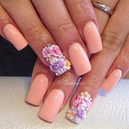 Wedding Pretty Nail, Acrylic French Manicure, Pink Flower Nail, Pink, Floral [