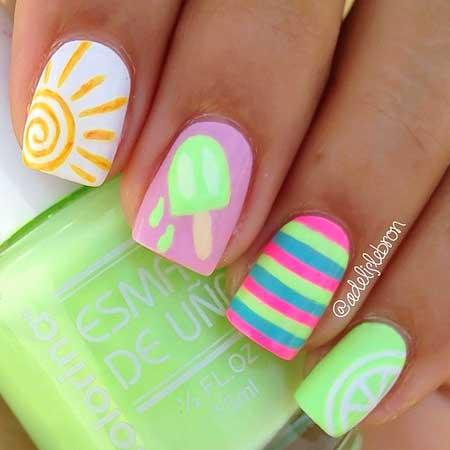 Dye Nail, Marble Neon Nail Neon, Summer Dye, Marble