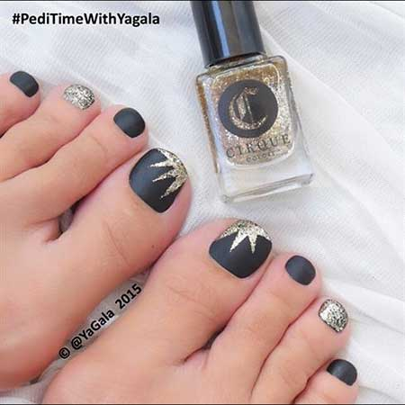 Black Nail, Art Polish, Glitter, One