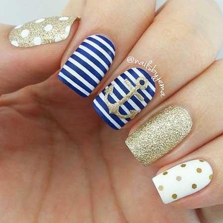 Nautical Nail, Striped Nail, Art Nail, Winter Blue, Striped