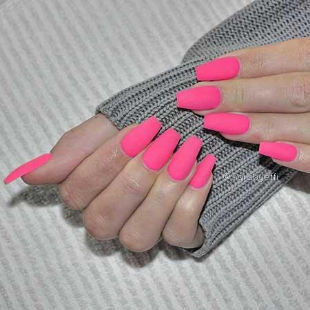 Pink, Pink Nail, Matte Pink Acrylichot, Neon, Matte, Idea, Acrylic,