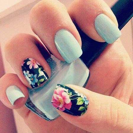 Floral Nail, Nail Anchor Nail, Flower Nail, Pretty Nail, Spring Blue