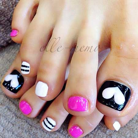Toe Nail, Toe, Art, Pink, White, Black, Toe